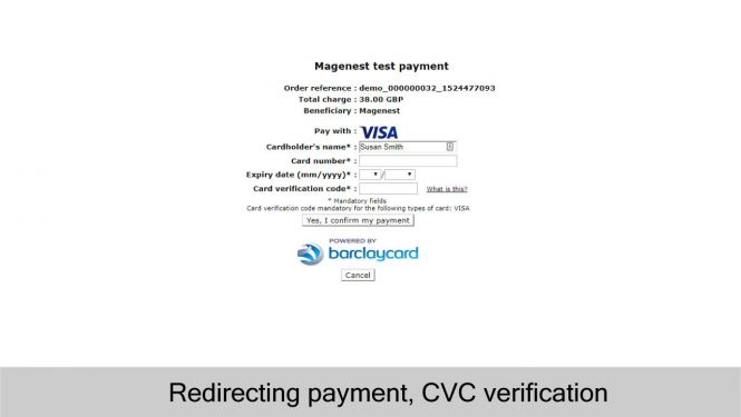 Barclaycard Redirect Payment with CVC Verification