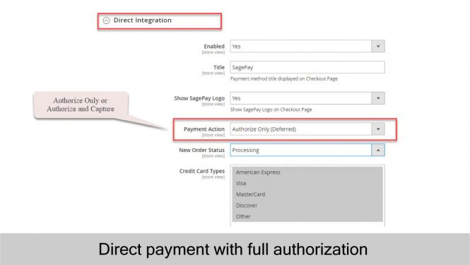 Sage Pay Direct payment with full authorization