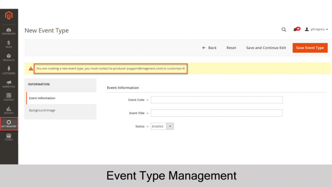 Gift Registry for Magento 2 Add new event type
