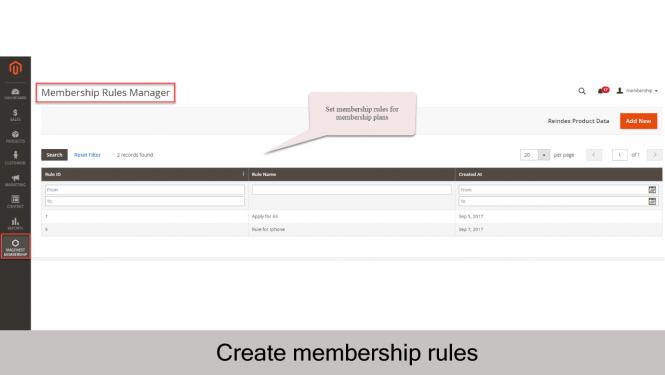 Magento 2 Membership Extension Membership Rules Manager