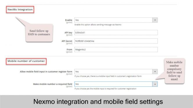 Magento 2 Follow Up Email Integrate Nexmo to send follow up SMS to customers