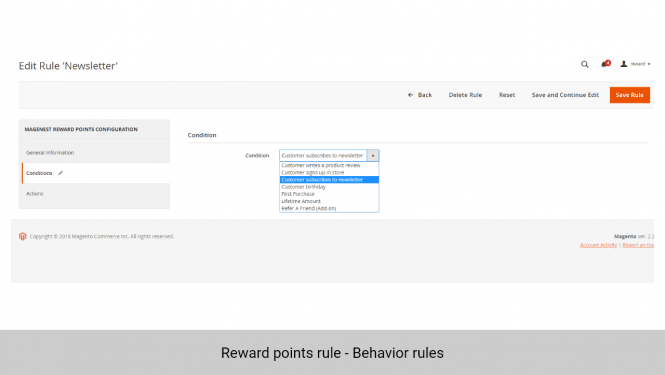 Add behavior rules with up to 6 default conditions, and 1 more with Refer a friend Add-on