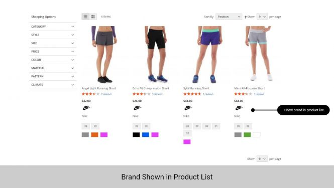 Magento 2 Shop By Brand will display in product info in product list