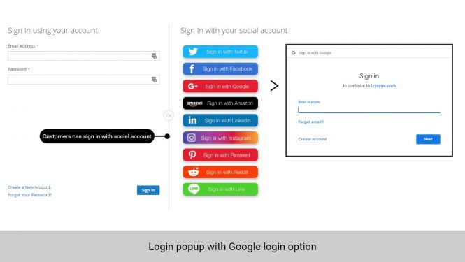 Customer can log in with Google