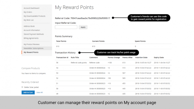 Customers can manage their reward points