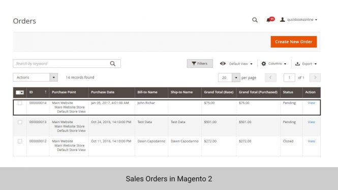 Sales Orders in Magento 2