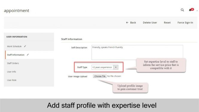 Add staff's expertise level to staff info