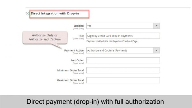 SagePay Direct payment with drop in
