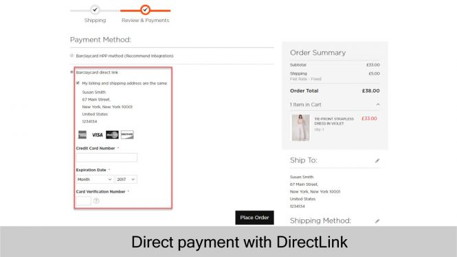 Barclays direct payment with DirectLink