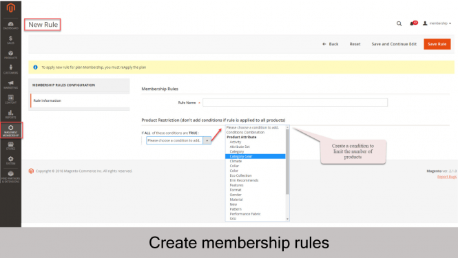 Create new membership rule