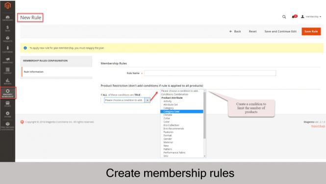 Magento 2 Membership Extension Create new membership rule