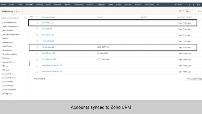 Accounts synchronized from Magento 2 to Accounts in Zoho CRM