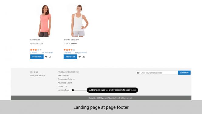 Add landing page for reward points to the footer