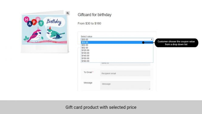 Admin can allow customer to choose the gift card value from a drop-down list