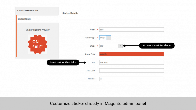 Admin can create/customize the sticker in Magento back end