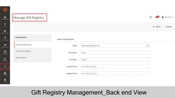 Gift Registry Account Info