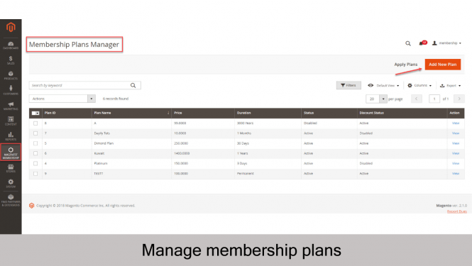 Membership Plans Manager