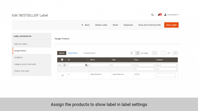 Admin can assign the products to display label