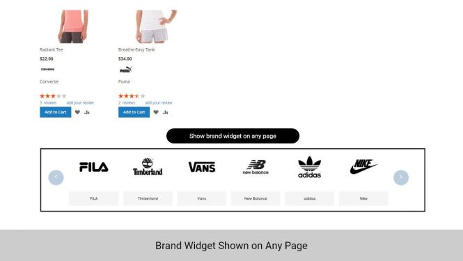 Add a brand widget on any page with Magento shop by brand extension