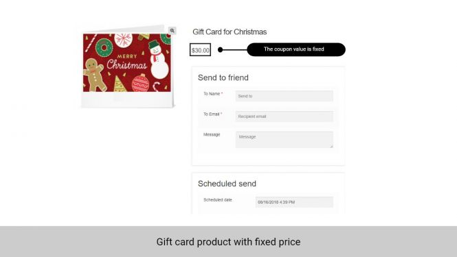 Admin can set the gift card value as fixed price