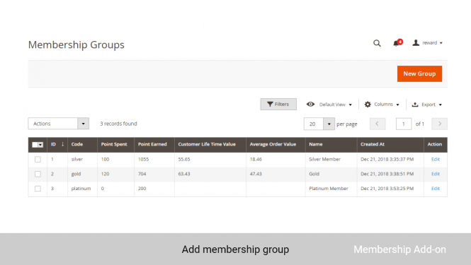 With Membership Add-on, admin can create membership groups