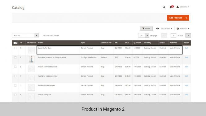 Product data in Magento 2
