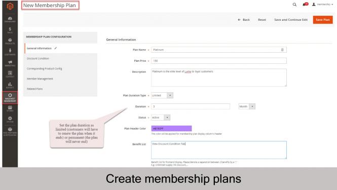 Magento 2 Membership Extension Create new membership plan_Info
