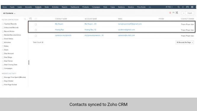 Contacts synchronized from Magento 2 to Contacts in Zoho CRM
