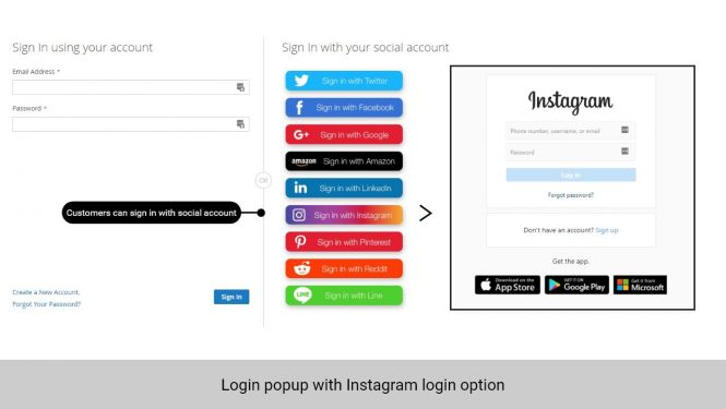Customer can log in with Instagram