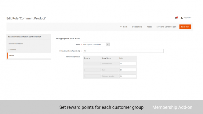 Admin can set the reward points for each customer group