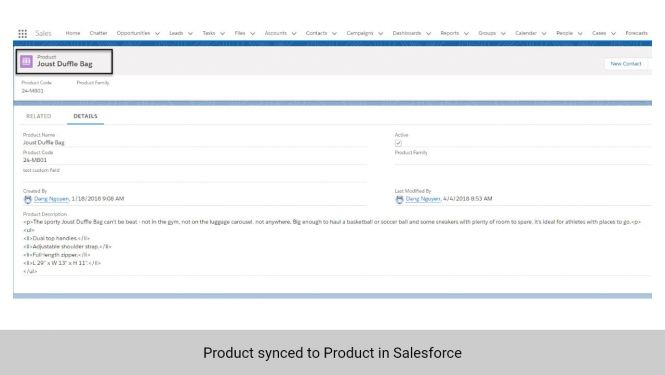 Product info in Magento 2 synced to Products in Salesforce CRM
