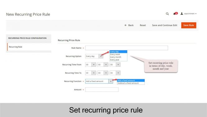 Set recurring price rule for appointment subscription