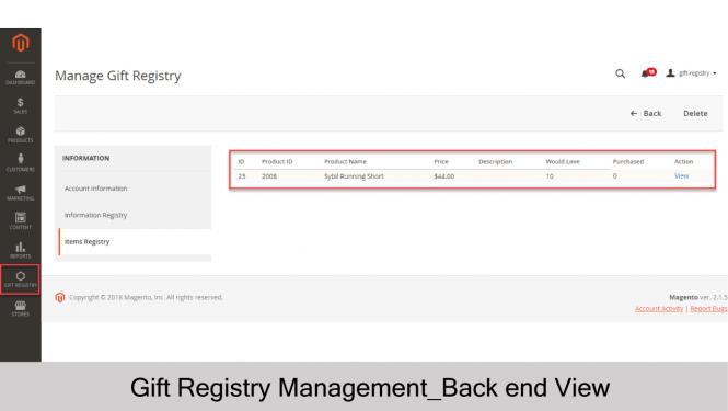 Gift Registry Items