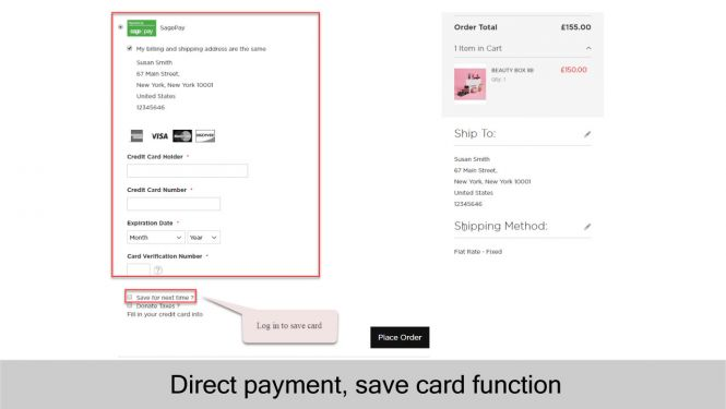 SagePay direct payment with saved card function (for logged in customers only)