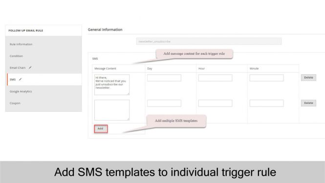 Magento 2 Follow Up Email Admin can add SMS Templates to individual trigger rule and exact time setting by day, hour, and minute