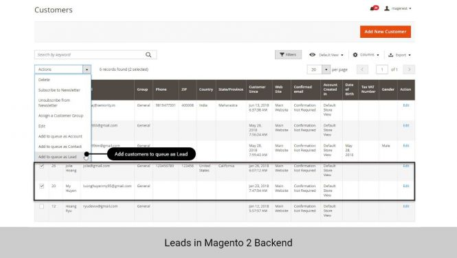 Admin can add customers to queue as Leads in Customer grid table