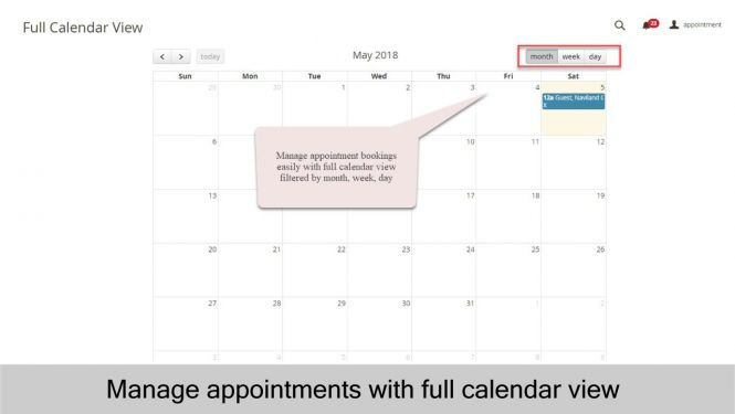 Easily manage appointments with full calendar view in Magento 2 Backend