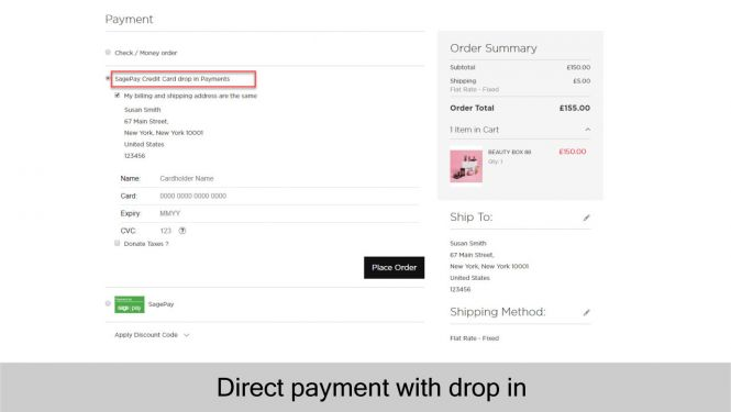 Sage Pay  Direct payment with drop in