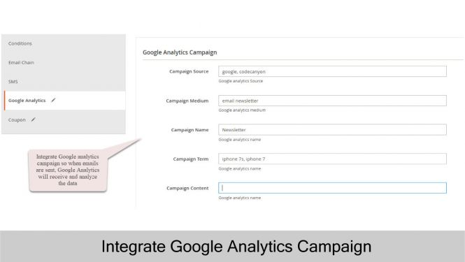 Magento 2 Follow Up Email Admin can integrate Google Analytics Campaign in trigger rule