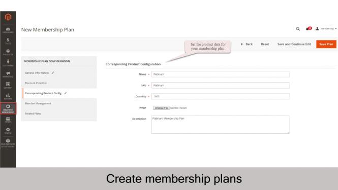 Create new membership plan_Corresponding Product Configuration