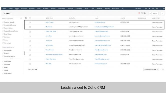 Leads synchronized from Magento 2 to Leads in Zoho CRM