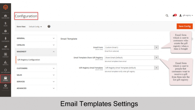 Gift Registry Configuration Email Template Settings