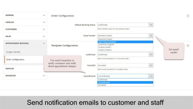 Send emails to notify customers and staffs about appointment changes using email templates