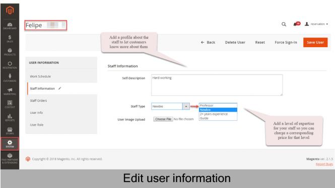 User information on Magento 2
