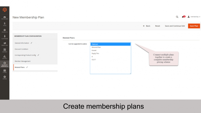 Magento 2 Membership Extension Create new membership plan_Related Plans