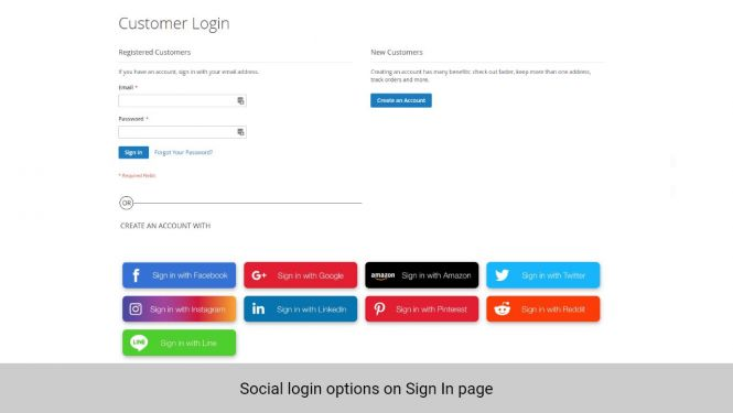 Customer can choose to log in with social account on Sign In page