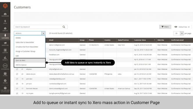 Admin can add data to queue or sync data to Xero instantly in Customer page