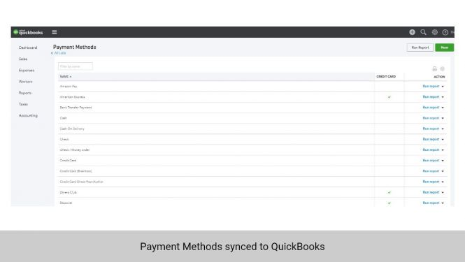 Payment Methods from Magento 2 synchronized to QuickBooks