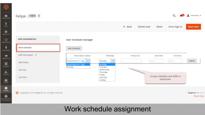 Assign work schedule to employees
