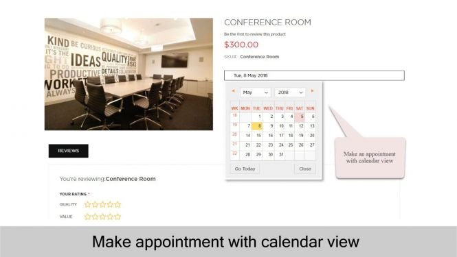 Make an appointment with calendar view in Magento 2 store